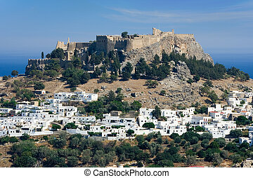 Lindos and the Acropolis, Rhodes island, Greece