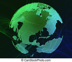 Data globe - Data transfer over a 3d globe of the world...