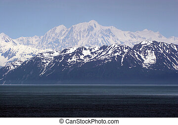 Snow capped mountains - Snow caped mountains in light blue