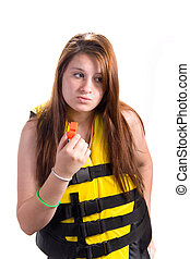 Girl with Lifejacket and Safety Whistle - Attractive teen...