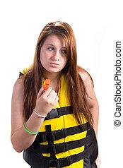 menina, lifejacket, segurança, apito
