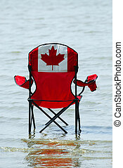 Canadian vacation - Folding chair with canadian flag design...