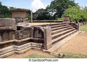 Stone steps - Entrance to the big dagoba in Anuradhapura,...