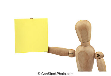 figure with adhesive note - wooden figure holding empty...