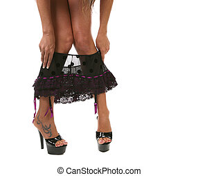 Black Lace Panties Being Put on : White Background