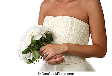 Bridal Bouquet With Diamond Ring on White