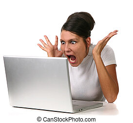 Female Shocked at Something on Her Computer - Woman Seeing...