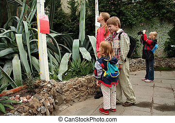 Trip to the conservatory - Children with rucksacks visiting...