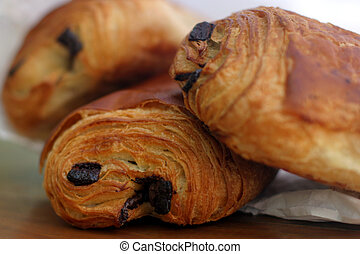 Pain au Chocolat - A croissant filled with chocolate! Tasty...