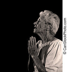 God I pray to thee - Elderly Woman Praying to God For...