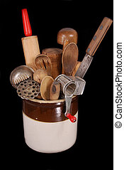 Antique, Vintage Kitchen utensils - A collection of late...
