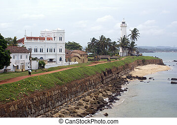 Mosque and light house on the south wall of fort Galle, Sri...