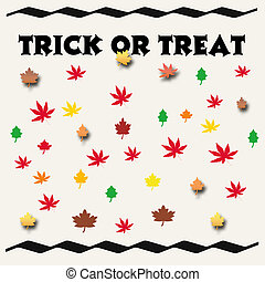 trick or treat sign, leaves scattered on  white background