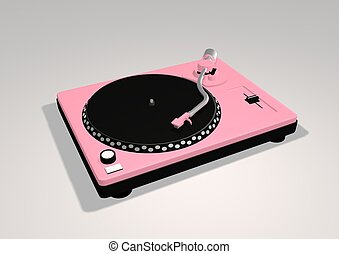 Pink Turntable - 3D illustration of a Pink turntable