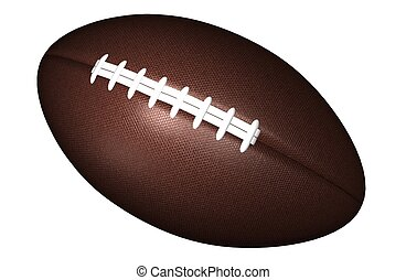 American Football - 3D rendered American football on a white...