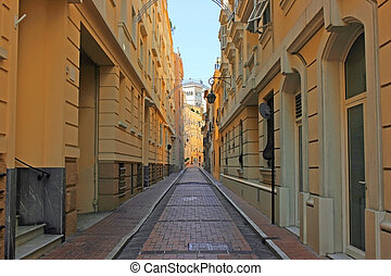 Narrow street - City street is too narrow that light cannot...