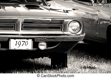 1970 Vintage Car - 1970 Classic car in black and white color...