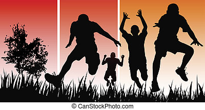 happy people - active men backlit on the nature background...