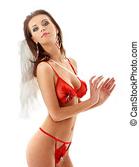 girl in red lingerie with angel wings 2 - lovely girl in red...
