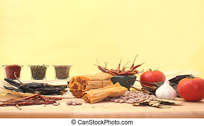 Tamales   - Mexican Food Still Life on Yellow Background