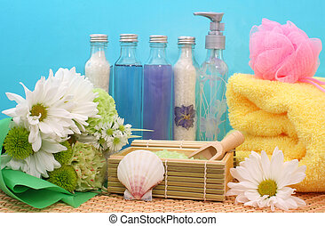 Spa Products on Blue - Spa Products with Flowers on Blue...