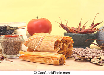Tamales and Spices - Tamales With Beans and Spices on Yellow...