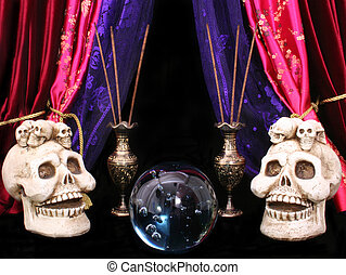 Crystal Ball With Skulls and Incense