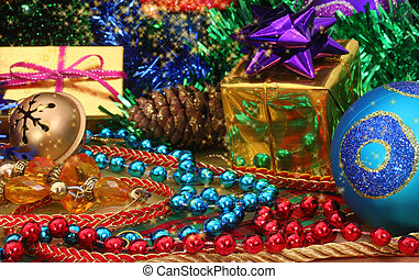 Christmas Decorations and Christmas Gifts Close-up, Shallow...