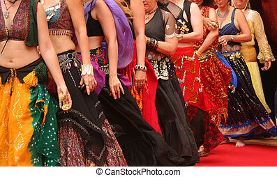 Belly Dancers - Row of Belly Dancers Preforming at a...