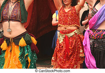 Belly Dancers Performing at a Festival, Close-up