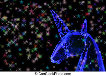 Unicorn - Glass Unicorn on Black Background With Blue Light