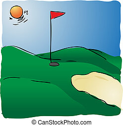 Golf course - Illustration of sunny golf course hand-drawn...