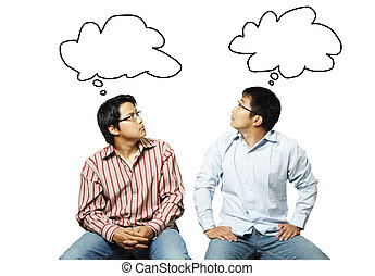Business teamwork - An isolated shot of two businessmen...