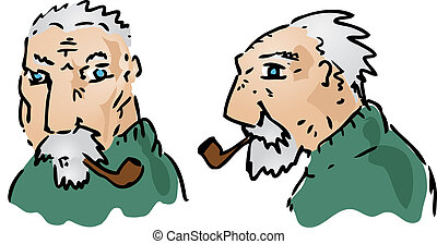 Elderly man - Cartoon illustration of an elderly grey-haired...