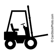 Forklift - Illustrated black forklift on a white background