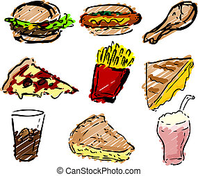 Fast food icons, hand-drawn look: hamburger, hotdog, fried...