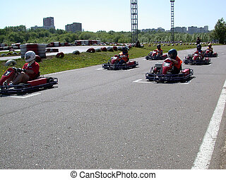 karting - The competitions on karting. auto sport. no...