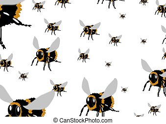 The Bees - A swarm of Illustrated bees