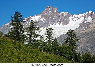 Mountain landscape - rocky peak with glaciers, Mont Blanc...