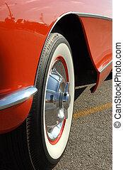 Corvette Tire - Close-up of wheel of a restored car.