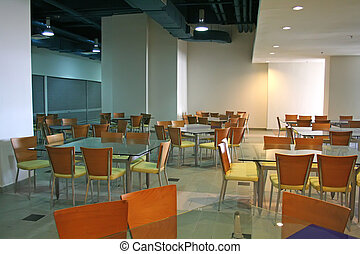 Modern cafe - Modern dining area with glass wood and steel...