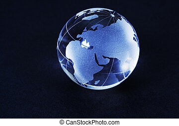 Glass world globe close up