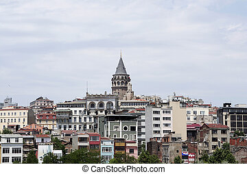 Galata tower. Golden horn. Istanbul Turkey