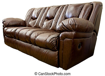 Leather Reclining Sofa - Large Comfortable Overstuffed Brown...