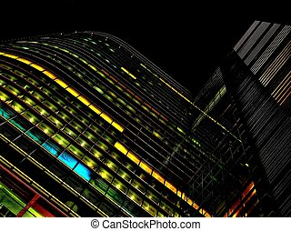 Offices building at night in the city of Warsaw in Poland