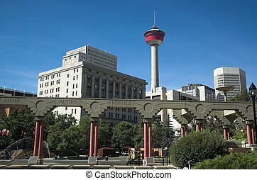 Olympic plaza and the Calgary Tower, a tourist attraction...