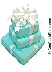 cumpleaños, pastel, aislado