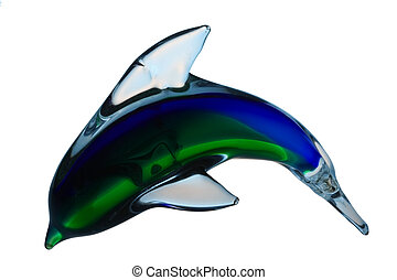 Glass dolphin isolated on the white background