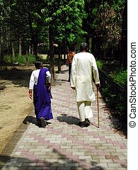 Senior Indian Couple - A senior Indian couple on a stroll
