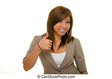 Thumbs Up Business 2 - Young Asian woman in business suit...